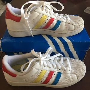Classic Adidas Shell Toe Primary Colors 7.5